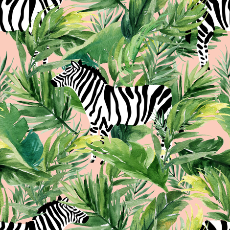 """8"""" Zebra with Leaves - Peach fabric by shopcabin on Spoonflower - custom fabric"""