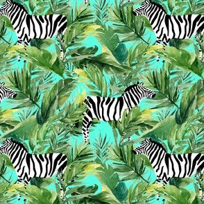 "4"" Zebra with Leaves - Teal"