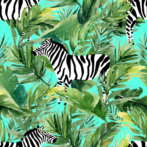 "8"" Zebra with Leaves - Teal fabric by shopcabin on Spoonflower - custom fabric"