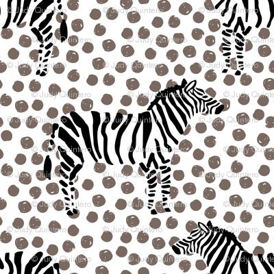 "10.5"" Zebra with Tan Polka Dots"