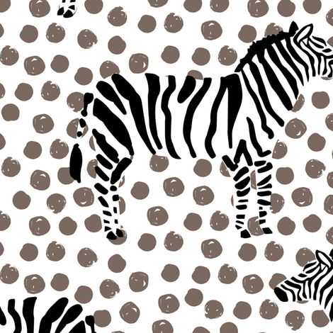 "10.5"" Zebra with Tan Polka Dots fabric by shopcabin on Spoonflower - custom fabric"