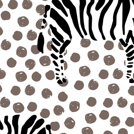 "14"" Zebra with Tan Polka Dots fabric by shopcabin on Spoonflower - custom fabric"