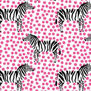 "4"" Zebra with Fuchsia Polka Dots"