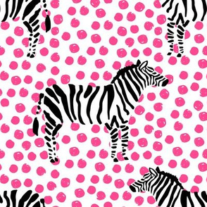 "8"" Zebra with Fuchsia Polka Dots"