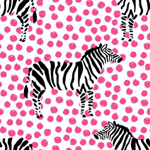 "10.5"" Zebra with Fuchsia Polka Dots"