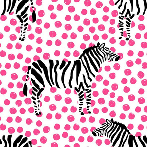 "14"" Zebra with Fuchsia Polka Dots"