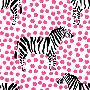 "21"" Zebra with Fuchsia Polka Dots"