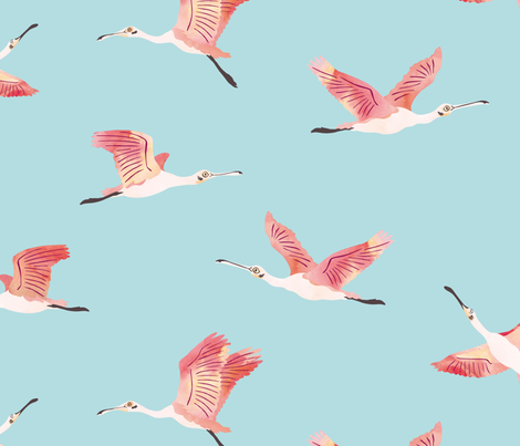 Flying Roseate Spoonbills fabric by revista on Spoonflower - custom fabric