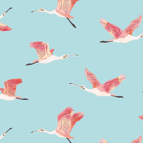 Flying Roseate Spoonbills