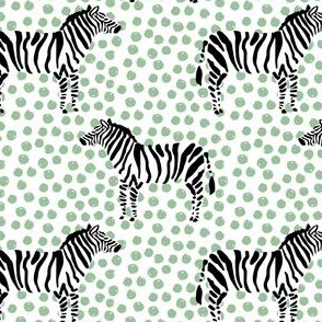 "4"" Zebra with Green Polka Dots"