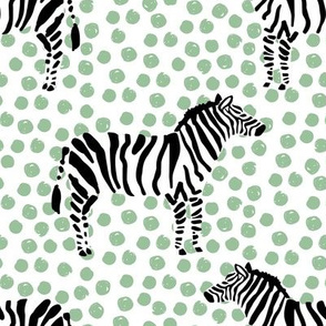 "8"" Zebra with Green Polka Dots"