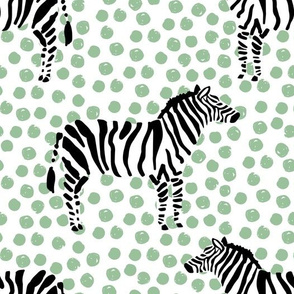 "10.5"" Zebra with Green Polka Dots"