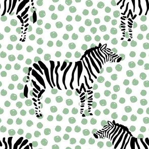 "14"" Zebra with Green Polka Dots"