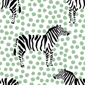 "21"" Zebra with Green Polka Dots"