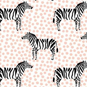 "4"" Zebra with Peach Polka Dots"