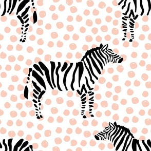 "10.5"" Zebra with Peach Polka Dots"