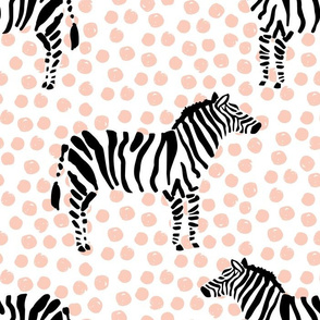 "14"" Zebra with Peach Polka Dots"