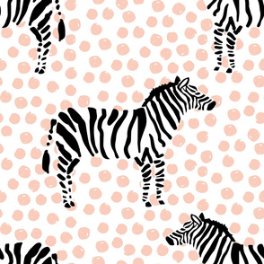 "21"" Zebra with Peach Polka Dots"