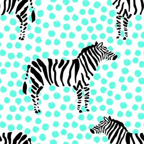 "8"" Zebra with Teal Polka Dots"
