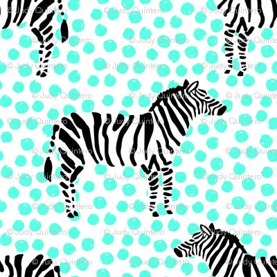 "10.5"" Zebra with Teal Polka Dots"