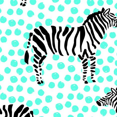 "10.5"" Zebra with Teal Polka Dots fabric by shopcabin on Spoonflower - custom fabric"