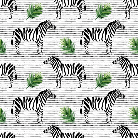"""4"""" Zebra with Stripes and Leaves fabric by shopcabin on Spoonflower - custom fabric"""