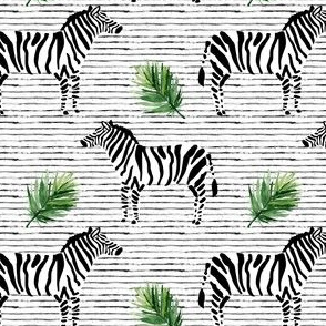 "4"" Zebra with Stripes and Leaves"