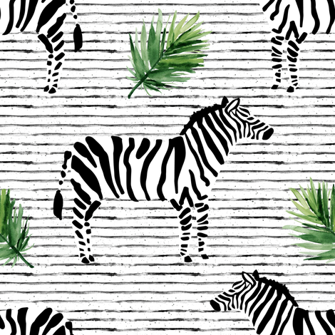 "8"" Zebra with Stripes and Leaves fabric by shopcabin on Spoonflower - custom fabric"