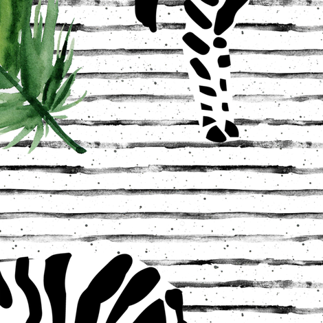 "21"" Zebra with Stripes and Leaves fabric by shopcabin on Spoonflower - custom fabric"