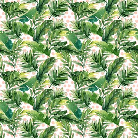 "4"" Leaves & Peach Polka Dots fabric by shopcabin on Spoonflower - custom fabric"