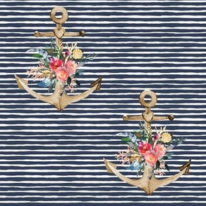 "7"" Floral Anchor Thick Blue Stripes"