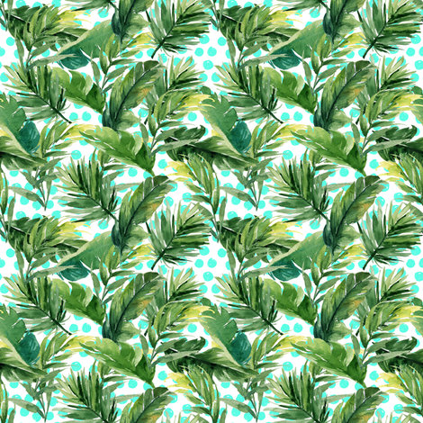 "4"" Leaves & Teal Polka Dots fabric by shopcabin on Spoonflower - custom fabric"