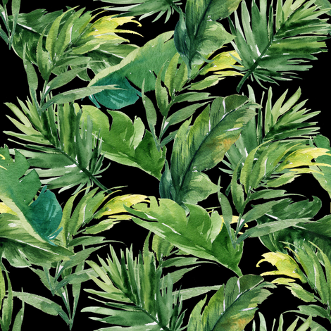 """8"""" Leaves with Black Background fabric by shopcabin on Spoonflower - custom fabric"""