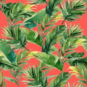 "8"" Leaves with Bright Coral Background"