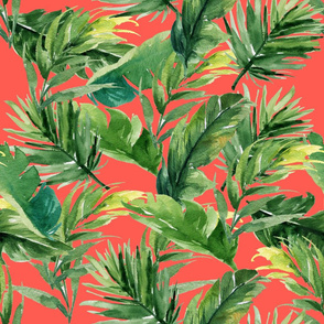 "21"" Leaves with Bright Coral Background"