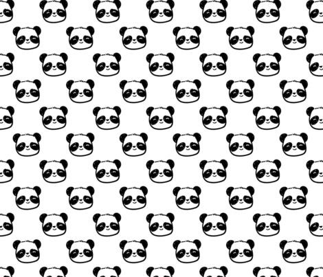 Happy Panda Faces fabric by electrogiraffe on Spoonflower - custom fabric