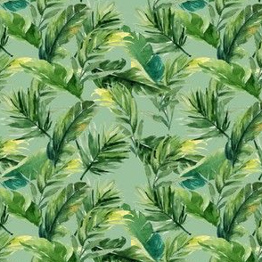 "4"" Leaves with Green Background"