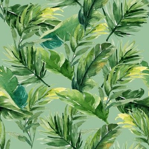 "8"" Leaves with Green Background"