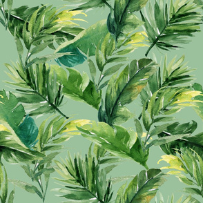 "21"" Leaves with Green Background"