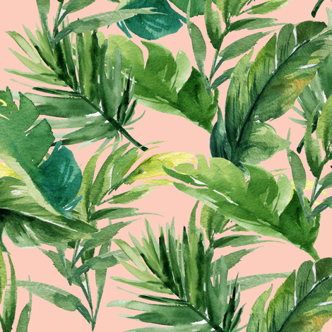 """10.5"""" Leaves with Peach Background fabric by shopcabin on Spoonflower - custom fabric"""