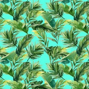 "4"" Leaves with Teal Background"
