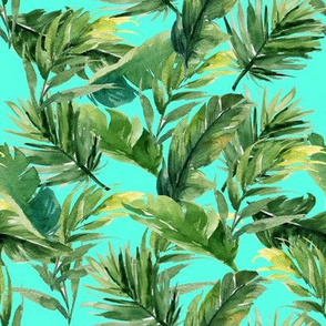 """8"""" Leaves with Teal Background"""