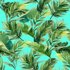 """21"""" Leaves with Teal Background"""