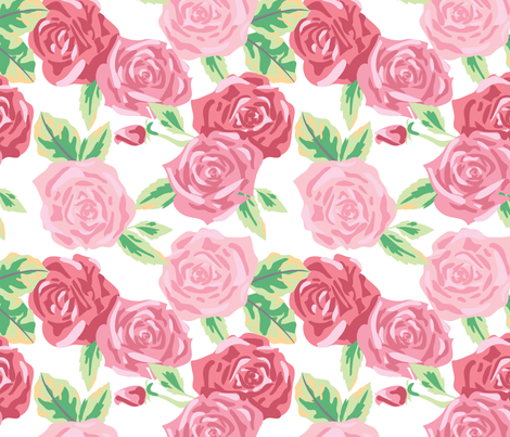 Rose Floral - Large fabric by electrogiraffe on Spoonflower - custom fabric
