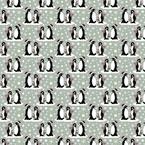 Elegant holiday penguins 4x4