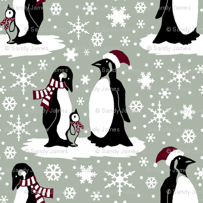 Elegant holiday penguins 6x6