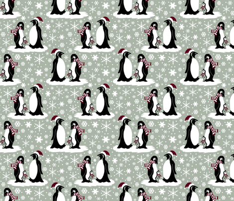 Elegant holiday penguins 6x6 fabric by leroyj on Spoonflower - custom fabric