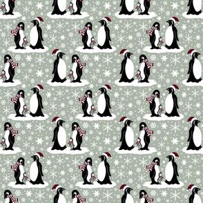 Elegant holiday penguins 6x6