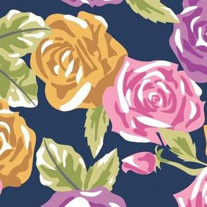 Navy Rose Floral - Large