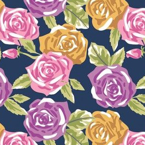 Navy Rose Floral - Small